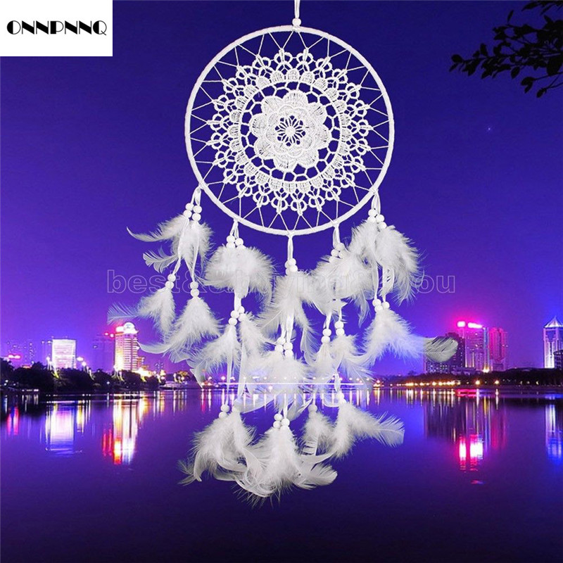 ONNPNNQ White Feather Car Wall Hanging Decoration Accessories Handmade Gifts Chimes