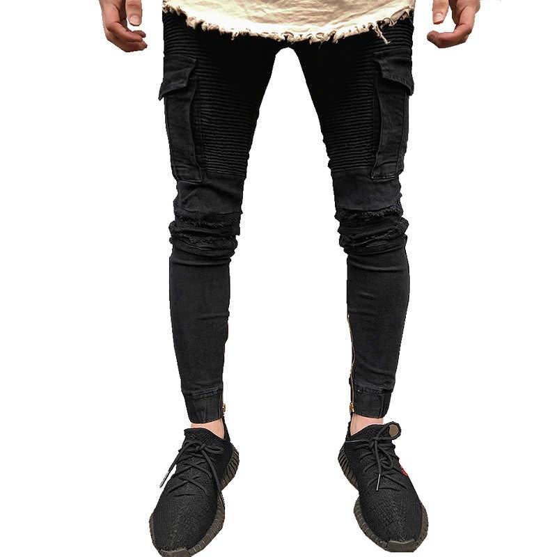 95cb52d70a0 2018 Новое поступление мужские дизайнерские черные рваные джинсы мужские  повседневные мужские байкерские джинсы узкие мотоциклетные джинсы