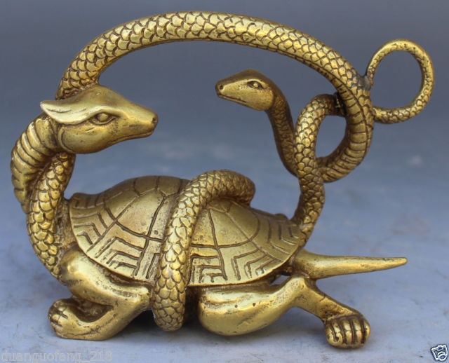 Healing Chinese Solid Copper Fengshui Mythical Animals Dragon Turtle Snake  Evil Statue Garden Decoration 100% Real Brass Bronze In Statues U0026  Sculptures From ...