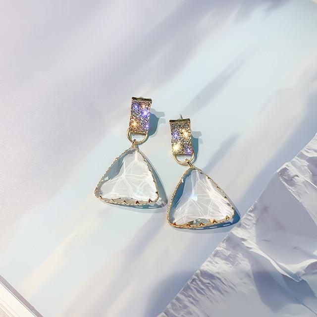 FYUAN Popular Geometric Drop Earrings for Women New Bijoux Triangle Clear Crystal Drop Earring Statement Earring.jpg 640x640 - Geometric Triangle Drop Earrings for Women