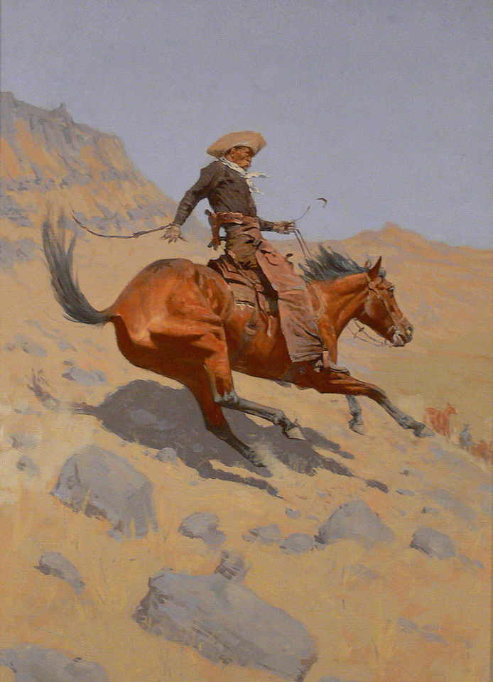 perfact oil painting handpainted on canvas The Cowboy riding on a horse