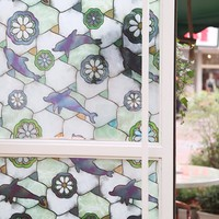45x200cm Floral Static Cling Stained Glass Windows Film Fashion Textured PVC Privacy Decorative Anti UV Cover Sticker FF