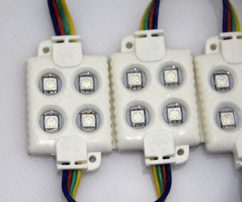100-pcs-Lot-Injection-5050-4-LED-Module-12V-White-Warm-White-Waterproof-IP65-High-Bright