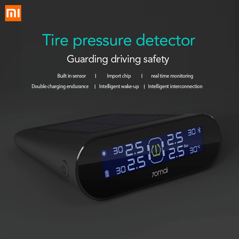 Xiaomi 70mai TPMS Tire Pressure Sensor Monitor Systerm Solar Power Solar Power LCD Display Car Security