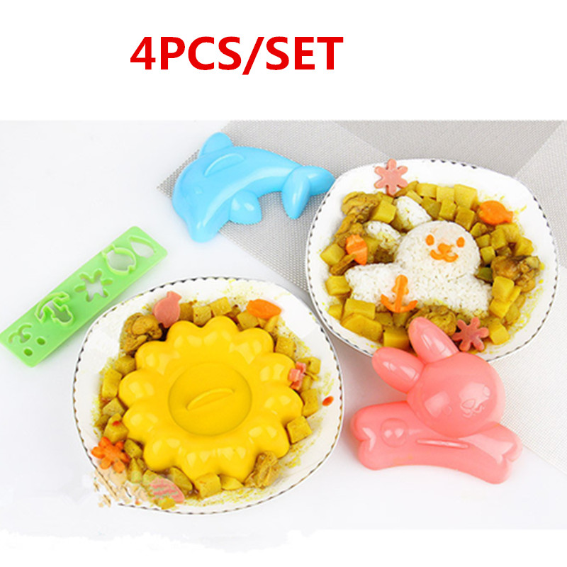 4pcs/set Creative lovely rice modeling mold DIY Rabbit chrysanthemum dolphin pastry mold Children's food modeling tools
