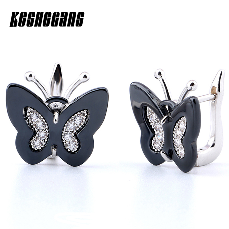 Ceramic Stud Earrings New Elegant Black White Butterfly Design Earring With Bling Crystal For Women Girl Ear Fashion Jewelry mymei fashion women lady elegant flower rhinestone ear stud earrings