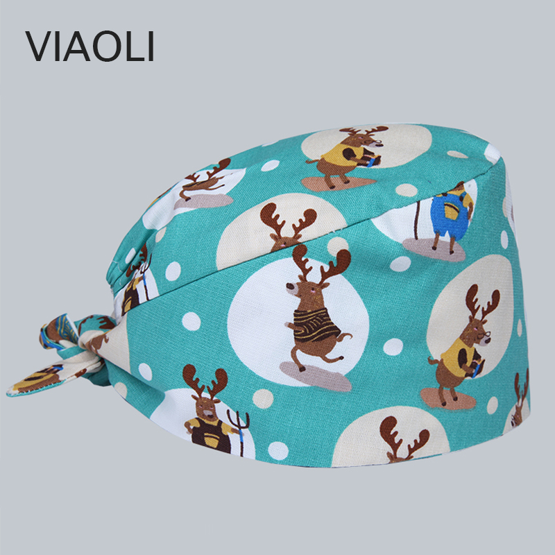 Viaoli Surgical Cap Men and women Doctor Nurse Hat Operating Room Hat Dental Beauty Salon Work Cap Printing blue