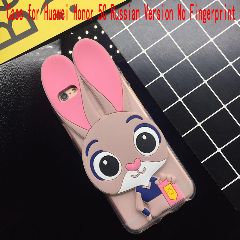 3d Cute Pink Rabbit Case For Huawei Honor 5 C 5c Russian Version No Fingerprint Soft Silicone Back Cover Cases Fundas Coque Capa