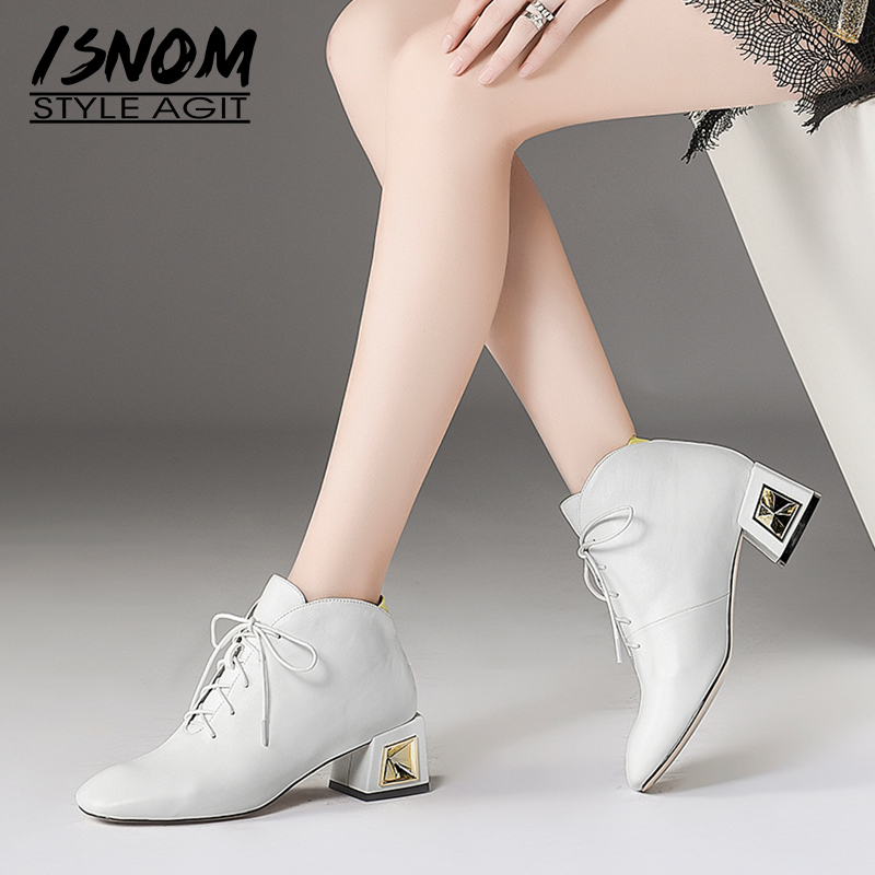 ISNOM 2018 New Cow Leather Women Ankle Boots Lace Up Square Toe Footwear Unusual High Heels