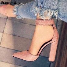 0723947355c86 Fragrantlily جديد إبزيم حزام عالية الكعب الصنادل النساء واشار تو موجزة  اللباس الصنادل الكلاسيكية مربع كعوب أحذية امرأة مضخات