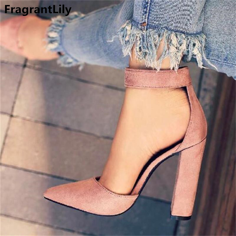 FragrantLily New Buckle Strap High Heels Sandals Women Pointed Toe Concise Dress Sandals Classic Square Heels shoes Woman Pumps