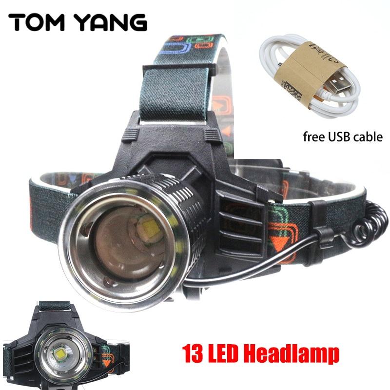 13 LED Hard Light Headlamp USB Charging 4 Modes Headlight XML T6 12 LED Rechargeable Spotlight