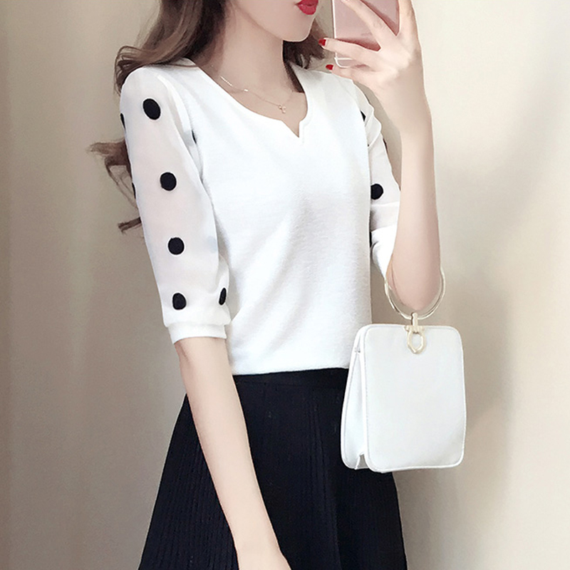 Camisa Verano Black Polka Coreanas 4 Cuello Oficina Moda Manga Blusa 3 Gasa Dot En 2018 Tops V Chifón Impresión Blusas Blanco white Negro rFwqr1Y