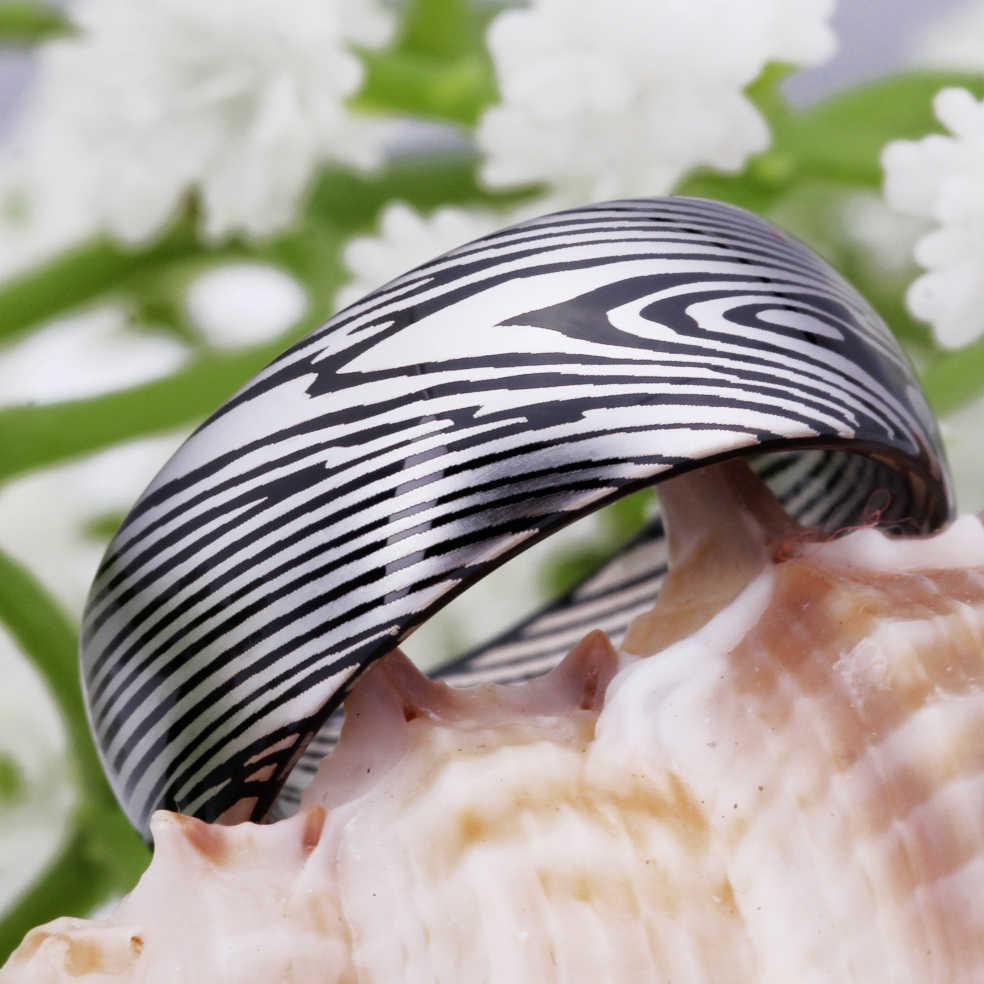 Mannen Ring Basic 100% Tungsten Ring voor Vrouwen Bruiloft Klassieke Sieraden Damascus Staal Patroon Engagement Party RING Comfort Fit