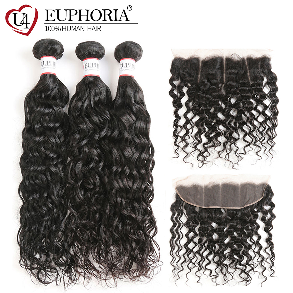Water Wave Human Hair Bundles With Lace Frontal EUPHORIA Natural Color Brazilian 100 Remy Hair Weaves
