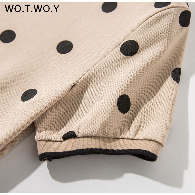 WOTWOY Summer Polo Shirt Dress Women Dot Print Plus Size Loose Cotton Maxi Dresses Pocket Short Sleeve Black Apricot Long Dress 7