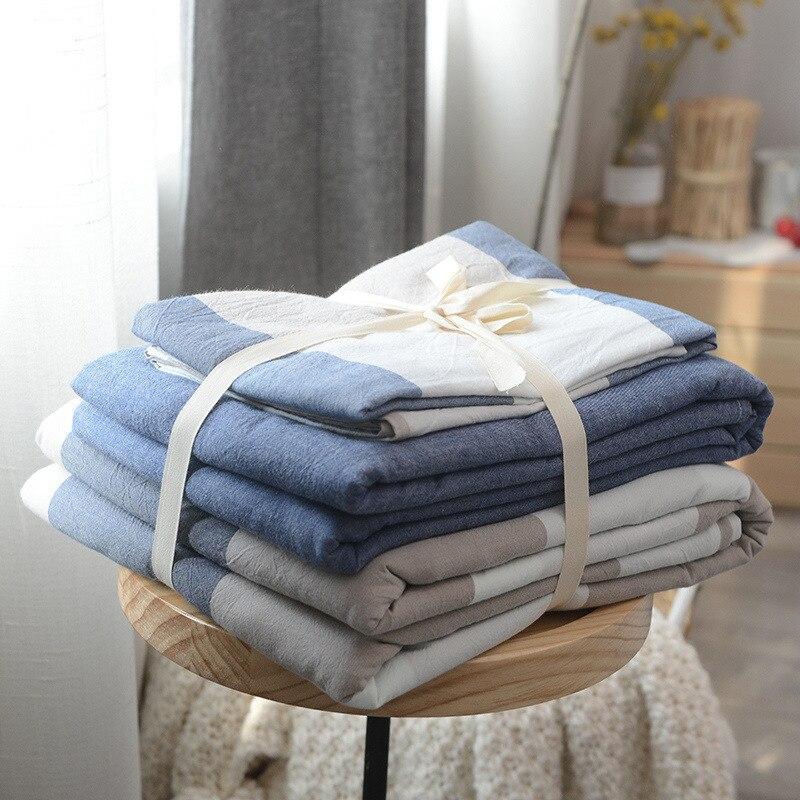 Chic Blue Beige Cotton Linen Plaid Curtains For Boys Bedroom: Blue Big Plaid Japanese Style 100% Cotton Wash Cotton 3