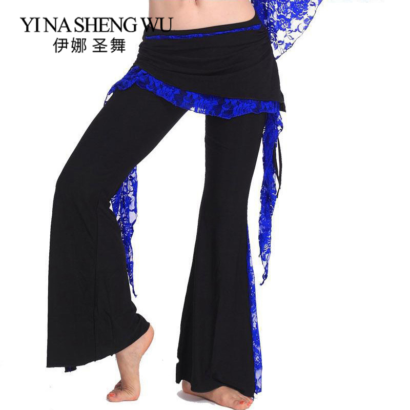 Tribal Belly Dance Training Trousers For Women Belly Dancing Lace Costume Pant 9 Colors