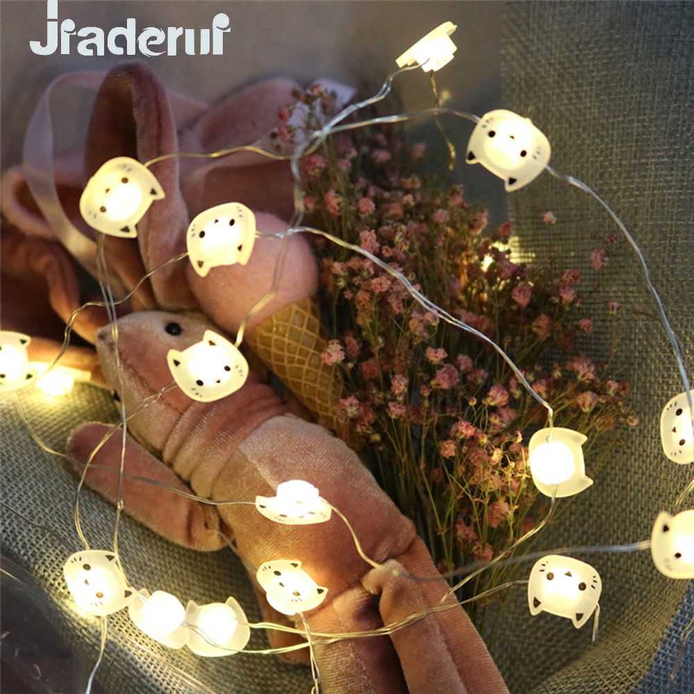 Jiaderui 2M 20LED Cat Copper Wire String Lights LED Fairy Lights Christmas Wedding Party Home Decoration Lights Battery Powered