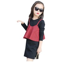 Autumn Long Sleeve Children S Wear Fashionable New Wave Fashion Package Sling Bag Dress Kids Clothing