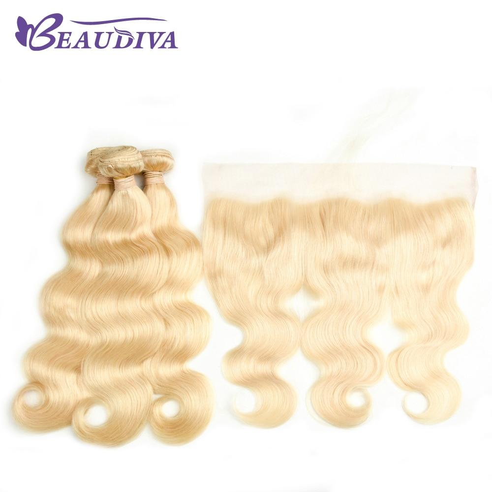 Beaudiva платиновый блондин Малайзии тело волна с фронтальной 3 Связки Малайзии человеческих волос с закрытием кружева 13*4 уха к уху