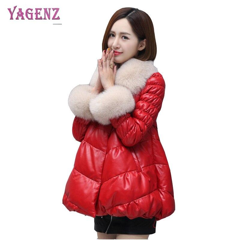 B70 2018 Coton Manteau Plume Survêtement Pardessus Couleur black Qualité Femmes pink Yagenz Fourrure De Red Col Haute Solide Hiver CqXwngZ