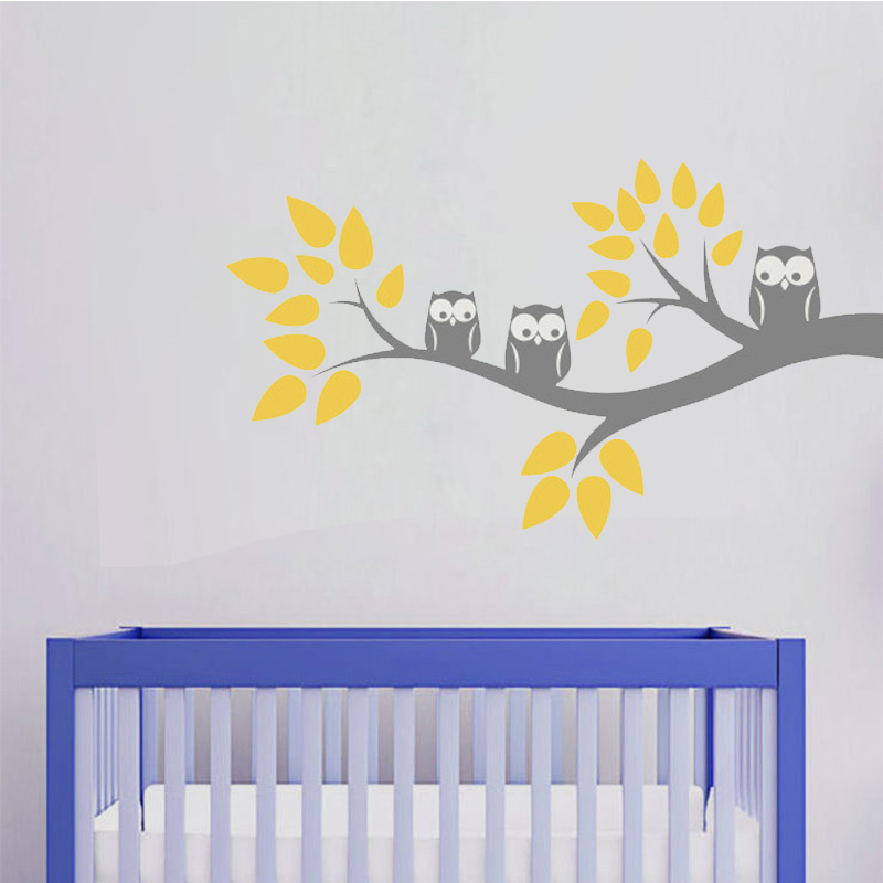 Cute Three Owls Branch Wall Decal Sticker Home Decoration Vinyl Mural - Home Decor - Photo 2