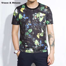 Colorful butterfly pattern printing fashion casual short sleeve 3d t shirt Summer 2017 New soft cotton quality t shirt men M-4XL