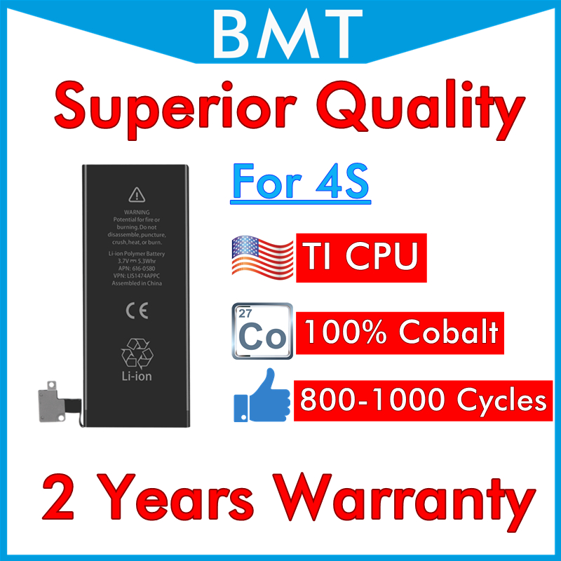 Battery for iPhone 4s Ti-Cpu-Replacement Superior-Quality DHL UPS 13 0 300pcs Can Cycle