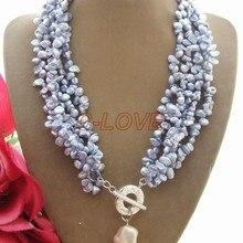 Хорошая! Синий Барокко& бусина ядро кулон ожерелье