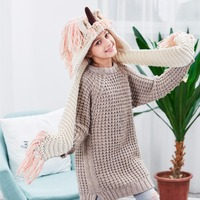 Crochet Cartoon Unicorn Winter Hat With Scarf Boys Girls Hooded Knitting Beanie Cosplay Photography Prop Costume