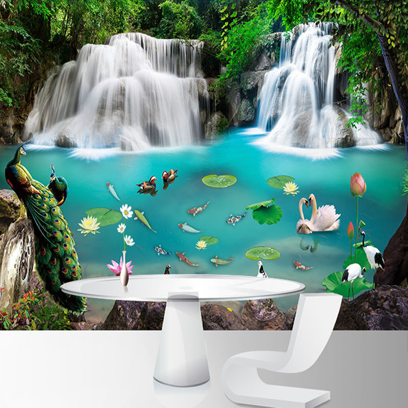 3D Wallpaper Modern Waterfalls Peacock Lake Nature Scenery Photo Wall Mural Living Room TV Sofa Study Backdrop Wall Decor Fresco
