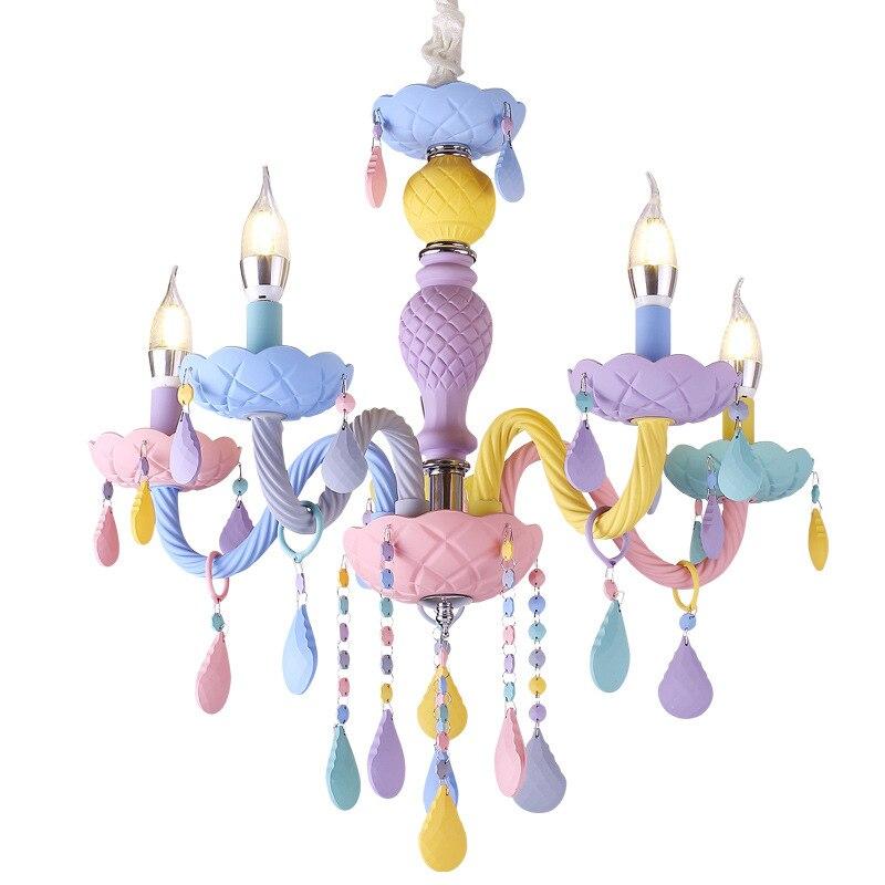 Macaron couleur suspension lampe blanche princesse fille enfants chambre chambre salle à manger cristal lumière E14