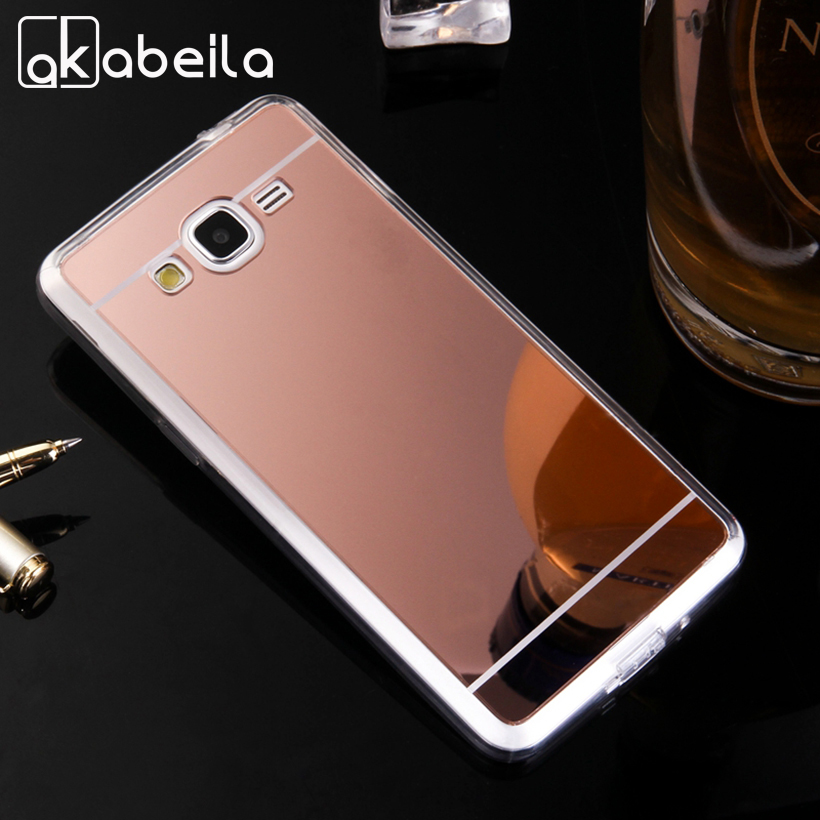 AKABEILA Phone Covers Cases For Samsung Galaxy Grand Prime G531F G530 G531H Case TPU Mirror G5308 G5300 G530H Covers Back Skin