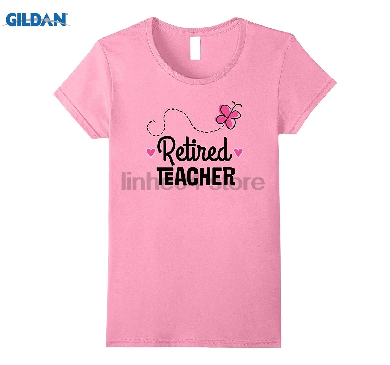 GILDAN Retired Teacher Pink Butterfly Teaching Gift T-shirt sunglasses women T-shirt