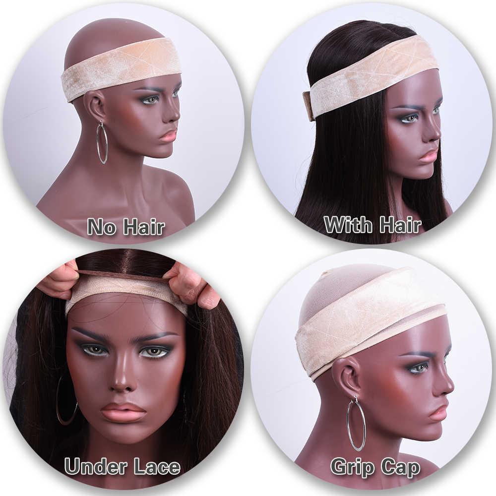 Нескользящая бархатная головная повязка головная Повязка регулируемый парик лента комфортные ленты для удержания парика, шапки или шарфа коричневого/бежевого цвета