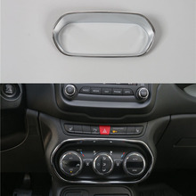 Sosung For Jeep Renegade 15-16 Interior Car Styling Air Condition Button Switch Decor Frame Cover Trim Sticker Chrome ABS 1Pcs