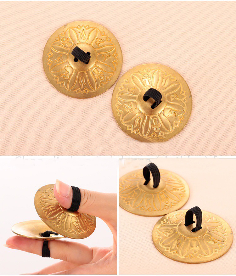 2 Pair (4 Piece) Belly Dance Grain Pattern Pure Copper Finger Cymbals Zills Bellydance Accessories
