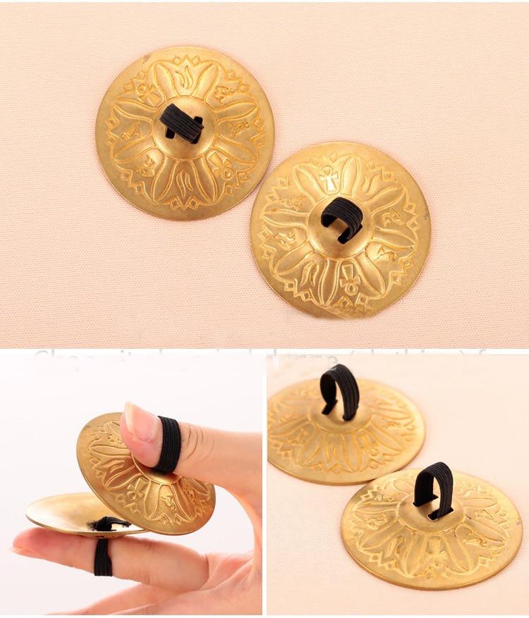 2 Pair (4 Piece) Belly Dance Grain Pattern Pure Copper Finger Cymbals Zills Bellydance Accessories