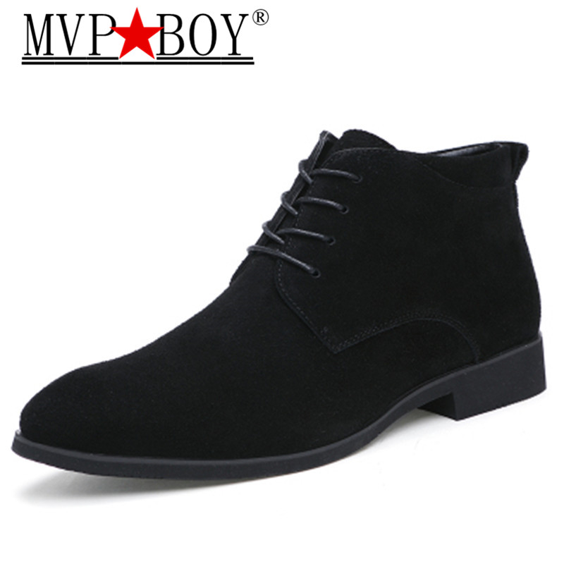 MVP BOY Genuine Leather Men Ankle Boots Breathable High Top Shoes Outdoor Casual Winter Botas Homme