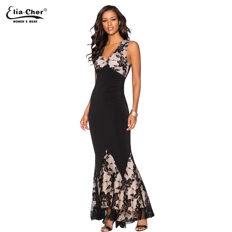 Eliacher макси плюс Размеры Для женщин пол Длина черный, белый цвет осень Кружево платье Высокая Талия Сексуальная See Through цветочный Vestido 8817