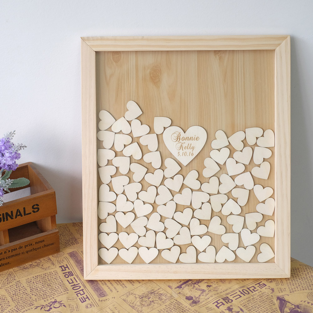 Personalized Wedding Guest Book Alternatives Wedding Guestbook Wooden Heart Drop Top Guestbook Frame for Sign Wedding Decoration
