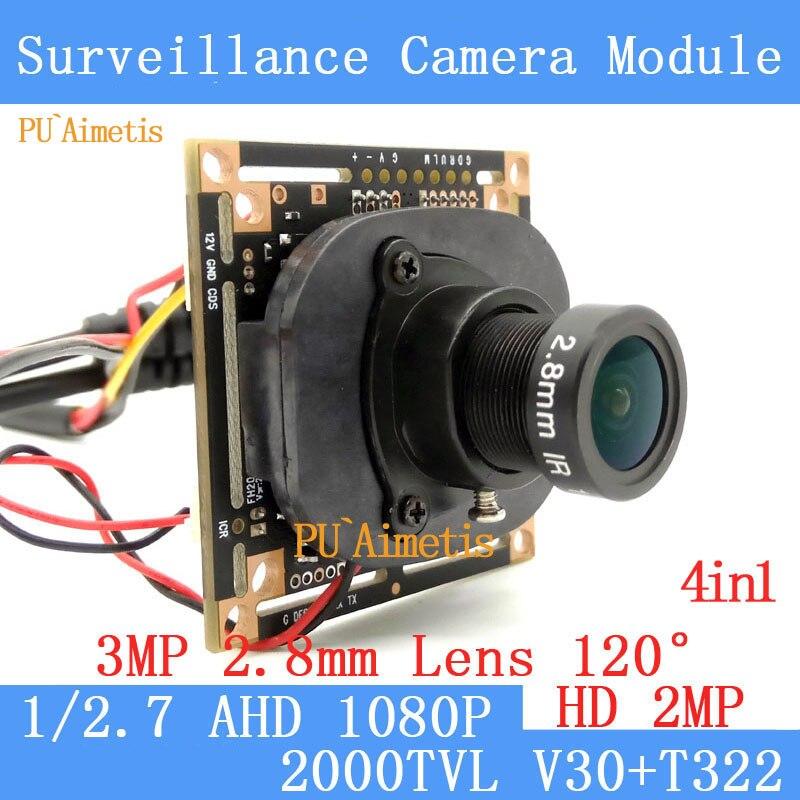 PU`Aimetis 4in1 2MP 1920*1080P AHD mini Camera Module T322 2000TVL 2.8mm wide-angle 120degree surveillance camera ODS/ BNC Cable