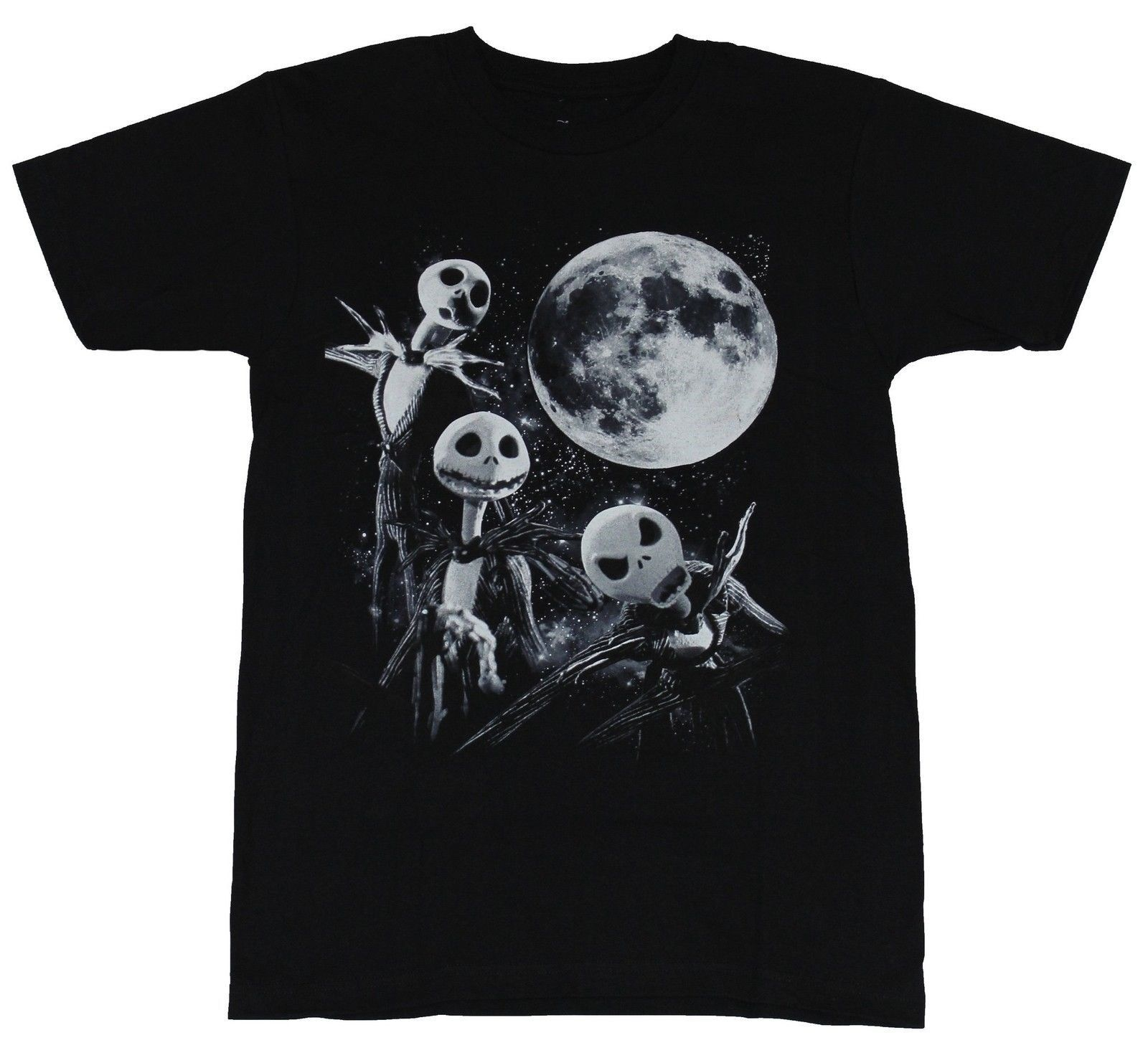 Nightmare Before Christmas Mens T-Shirt - 3 Jack Skellington Moon Image Cheap Price 100  ...