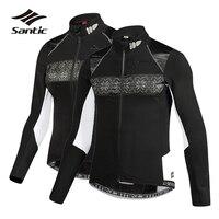 Santic Cycling Jacket Men Women Winter Fleece Thermal Pro Team Windproof Road Mountain Bike Jacket Wind Coat Bicycle Clothing