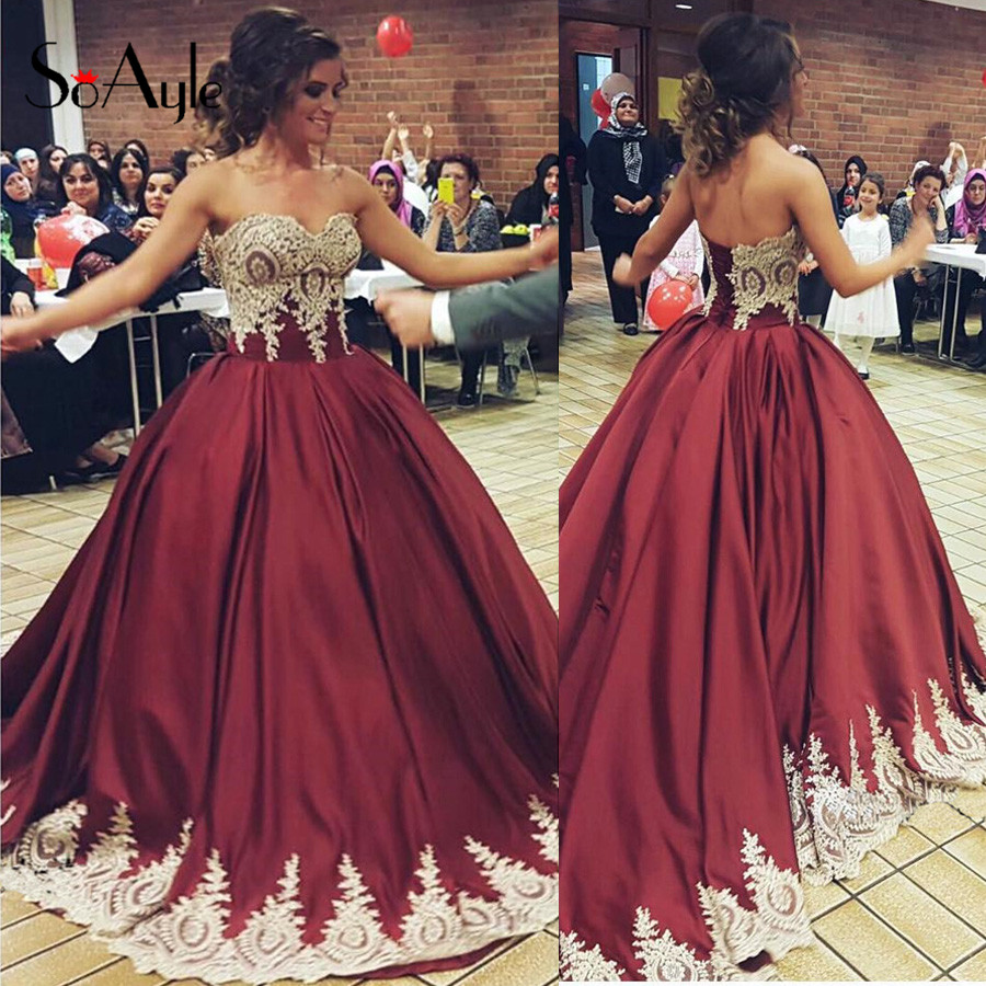 Burgundy and Gold Prom Dress | Dress images