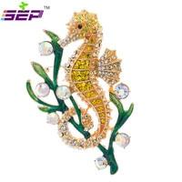 New 2015 Vintage Style Fashion Rhinestone Brooches Austrian Crystals Seaweed Sea Horse Brooch Pins For Women