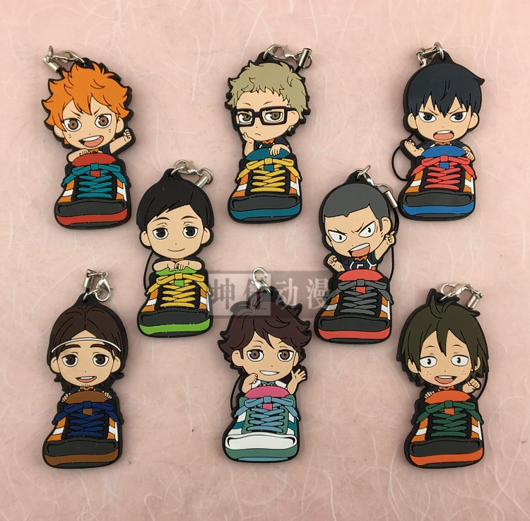 Haikyuu! Sneaker Version Anime Karasuno High School With Volleyball Rubber Keychain ensemble stars anime idol high school game team trickstar bean eye ver japanese rubber keychain