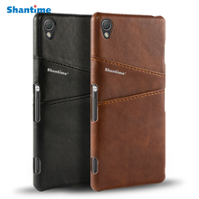 цена на Pu Leather Back Cover For Sony Xperia Z3 Z1 Z2 Z4 Z5 Z5 Premium Case For Sony Xperia M4 L1 XP X Business Card Slots Phone Case