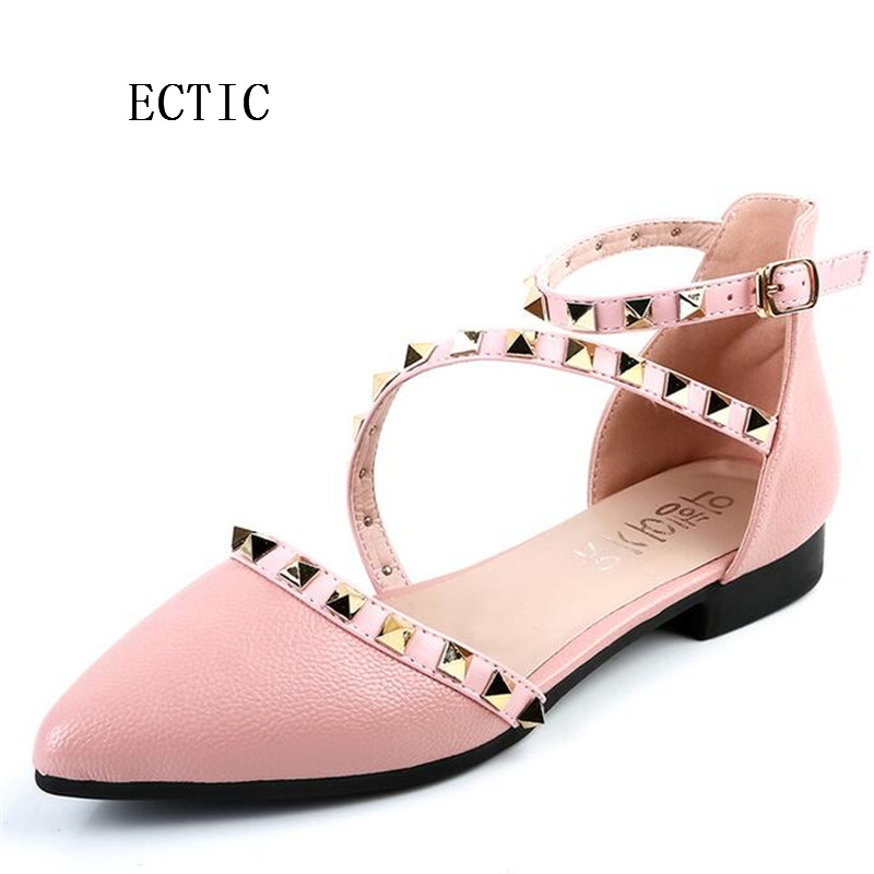 Female Fashion 2017 Spring Summer Women Ballerina Flats Pointed Toe Women Flats Ankle Strap Casual ladies Loafers Shoes size 2017 spring summer new women casual pointed toe loafers flats ballet ballerina flat shoes plus size 34 43